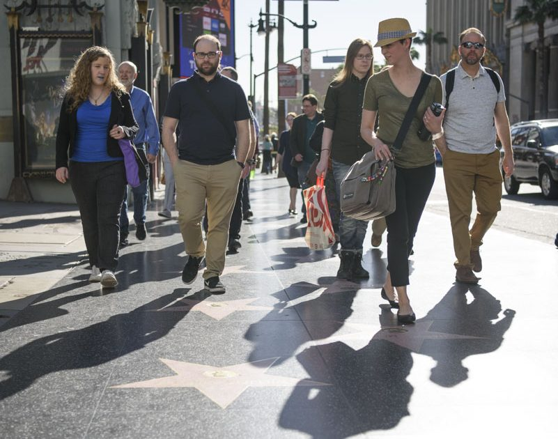 Writers walking down Hollywood Blvd. to Author Services, Inc.