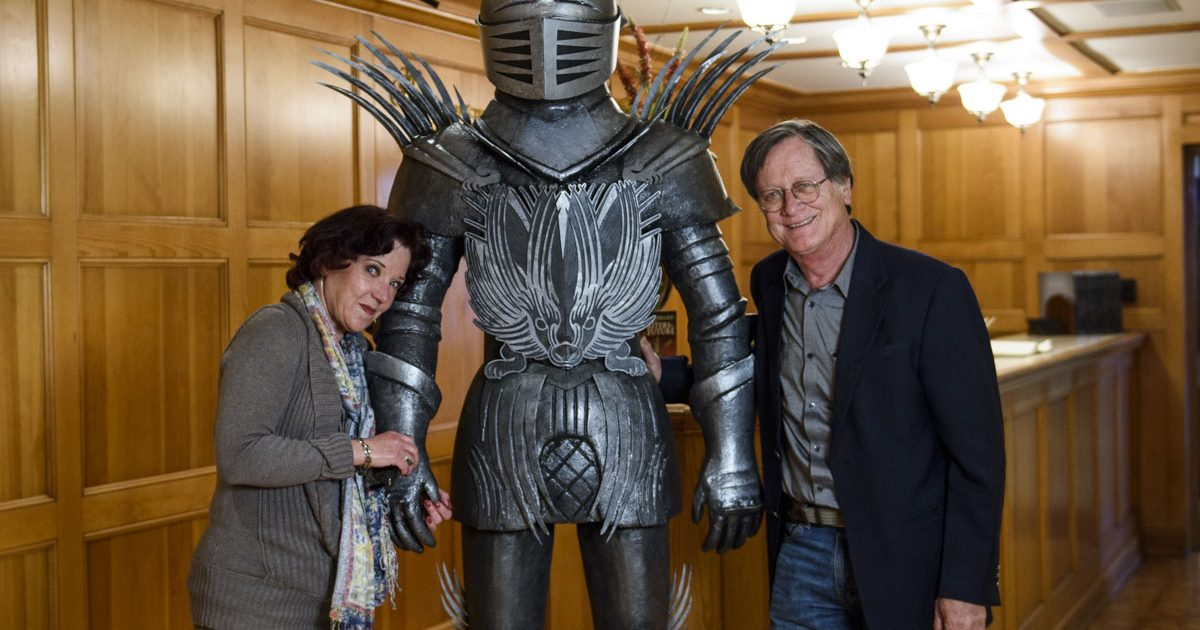 Serena and Tim Powers with the Knight from the book cover