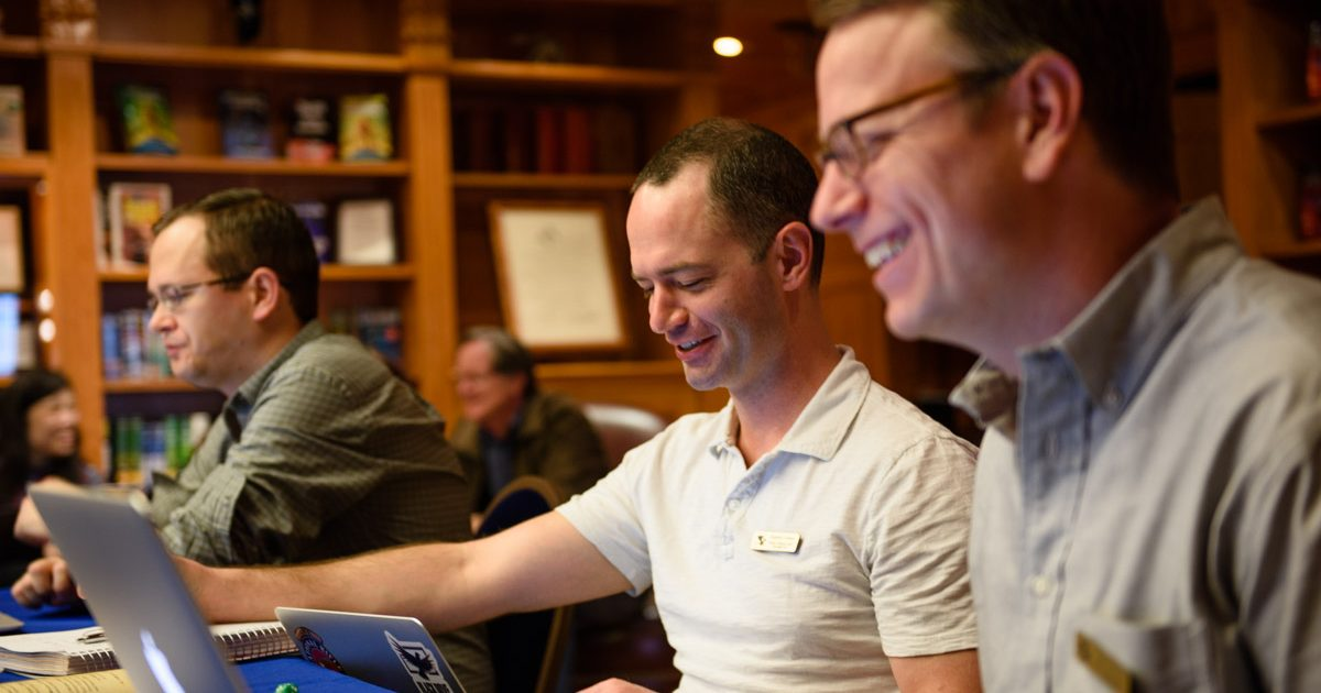 Stephen and Andrew Peery share a laugh during the Writers Workshop 2017