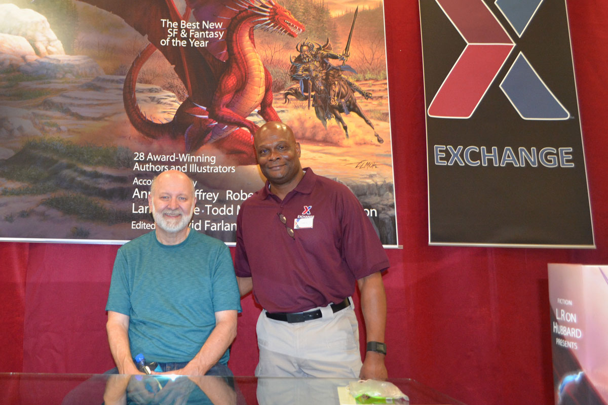 David Farland with Lawrence Simmons Jr, the General Manager of the Nellis AFB Exchange
