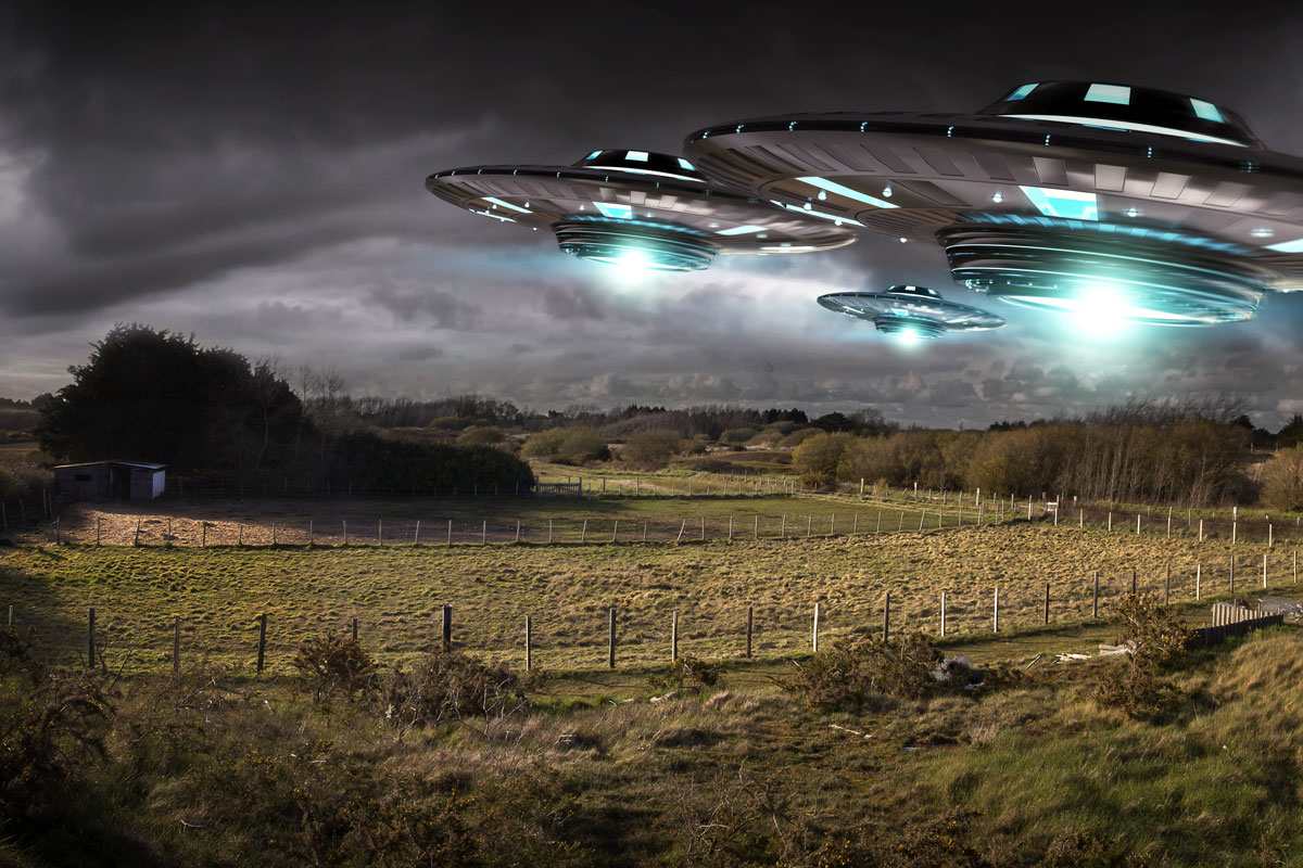 Flying saucers over a farm