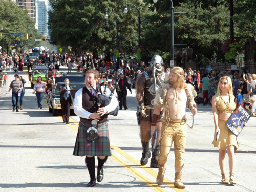 Dragon Con Parade with Terl, Jonnie Goodboy Tyler, Chrissie and Scottish bagpiper