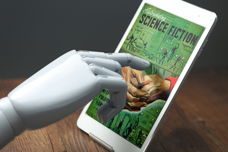 robotic hand touching ipad
