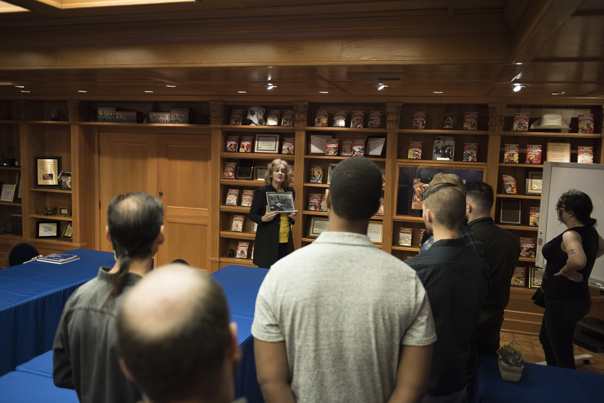 Getting a tour of the L. Ron Hubbard Library.