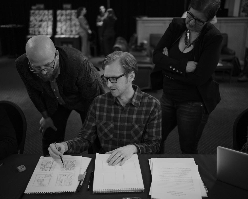 Instructors Lazarus and Echo with illustrator winner, David Furnal. (photo by Thorsten von Overgaard)