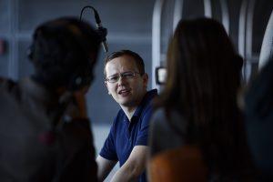 Dustin Steinacker being interviewed