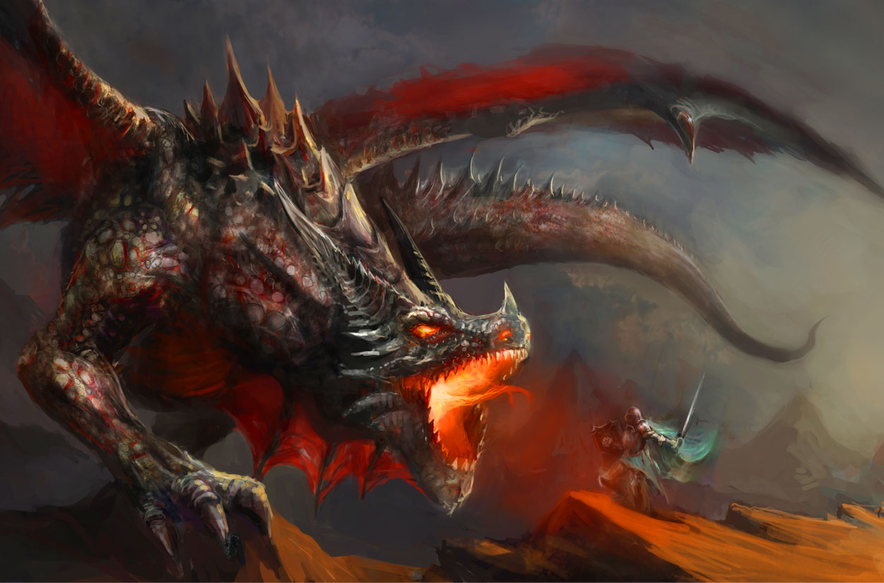 image of a knight fighting a huge dragon
