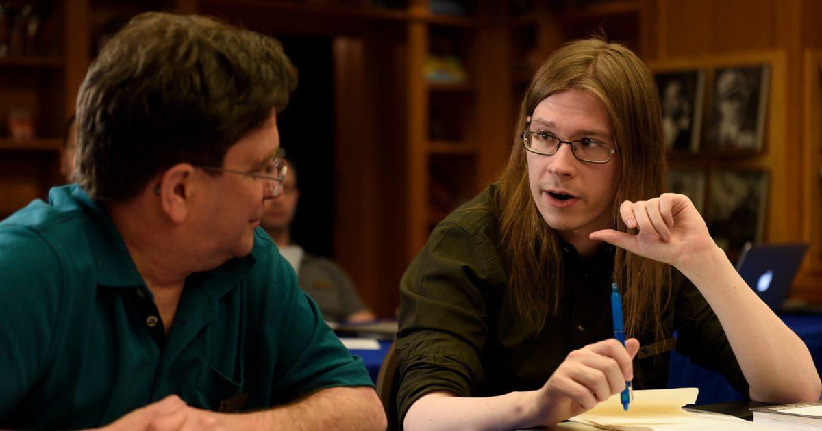 Ville Meriläinen talking to fellow author Andrew Roberts