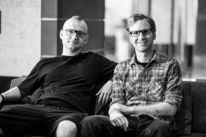 Michael Michera with fellow artist David Furnal