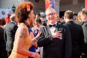 Singer Joy Villa with Michael Michera on the red carpet