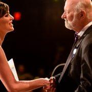 Molly Elizabeth Atkins on stage with David Farland