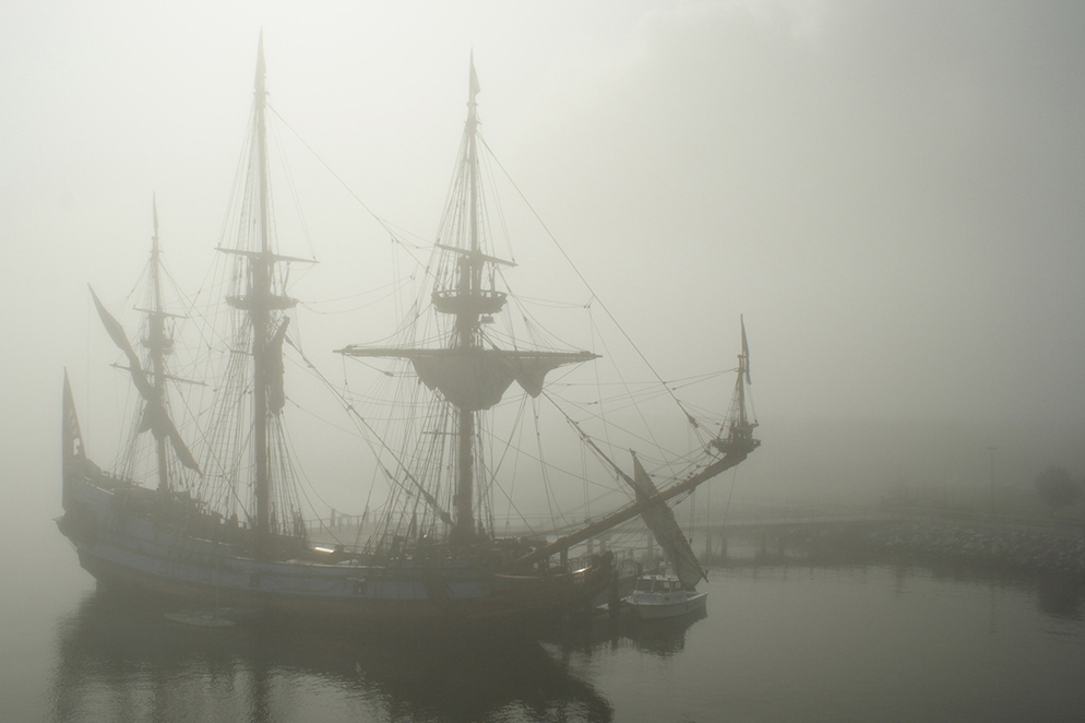 Pirate ship in the fog