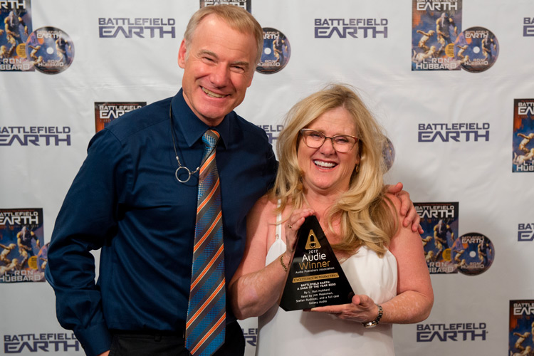 Jim with Nancy Cartwright, the voice of Bittie