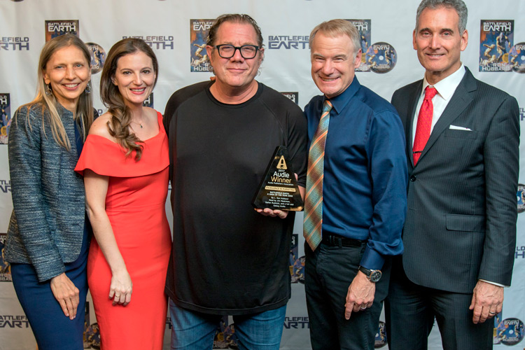 Gunhild Jacobs, Emily Goodwin, Fred Tatasciore, Jim Meskimen and John Goodwin proudly displaying the Audie award.