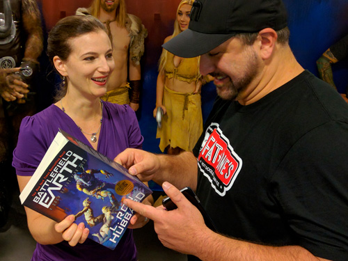 Emily from Galaxy with Joey Fatone