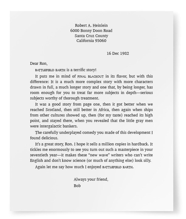 Letter from Robert A. Heinlein