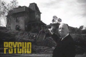 Alfred Hitchcock on the set of Psycho