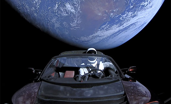 Elon Musk's Tesla in space