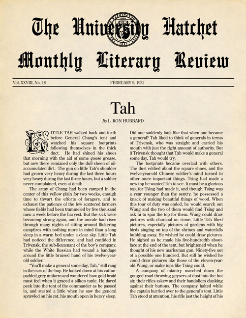 Tah, published in 1932 in George Washington University Hatchet