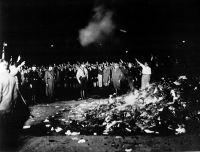 Books being burned in Berlin, Germany