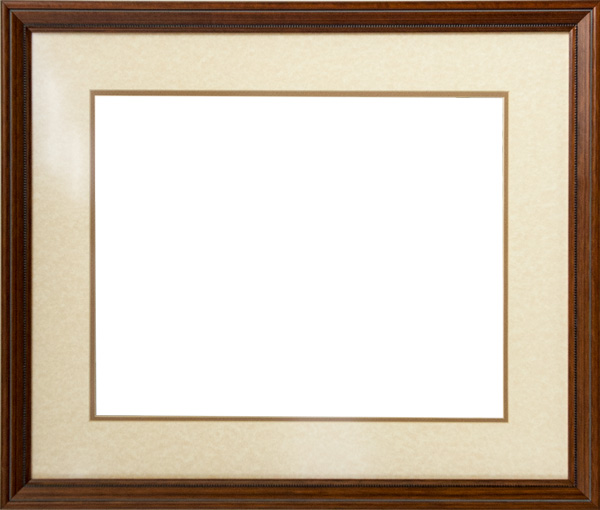 Wood frame with linen matting