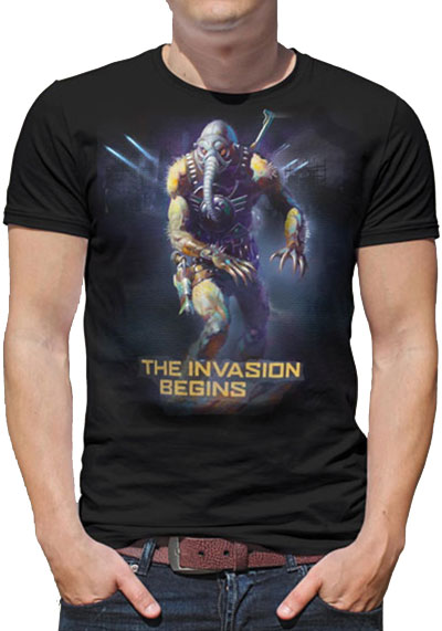 Man in Battlefield Earth T-Shirt
