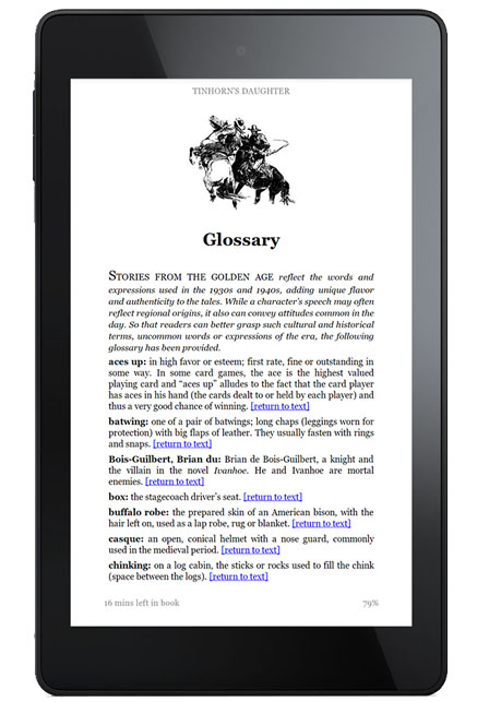 Kindle with glossary