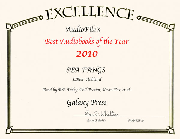 2010 AudioFile Best Audiobooks of Year award for Sea Fangs