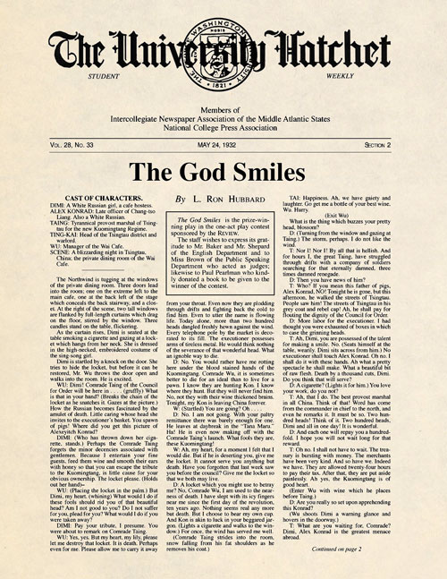 The God Smiles, published in 1932 in George Washington University Hatchet