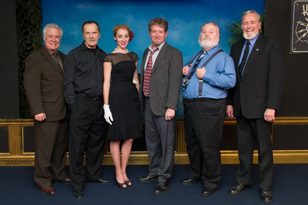 "The cast of ""Dead Men Kill."" Director and narrator, Phil Proctor, Robert F. Lyons, Lindsay Seim, Tom Ayers, Skip Harris and Bobb Lynes."