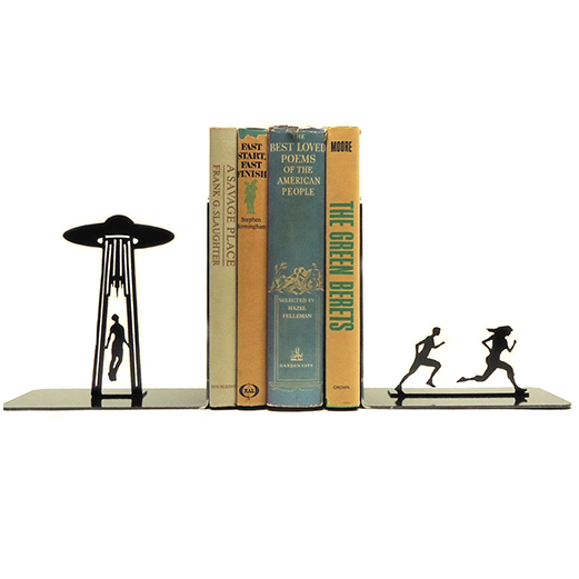 Alien Abduction bookends from KnobCreekMetalArts on Etsy.com
