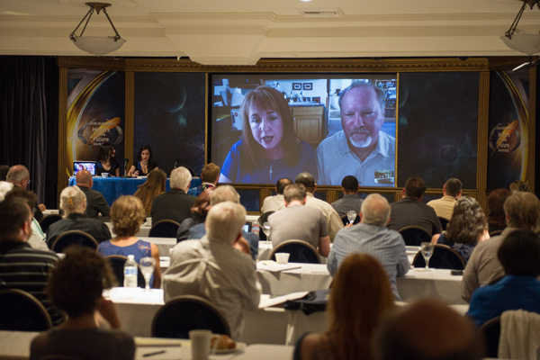 Rebecca Moesta and Kevin J. Anderson instructing via Skype