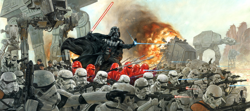 "Artwork by Dave Dorman ""Lord Vader's Persuation of the Outer Rim Worlds to Join the Empire"""