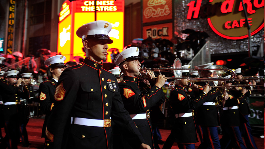 Marines Marching Band in the Hollywood Christmas Parade