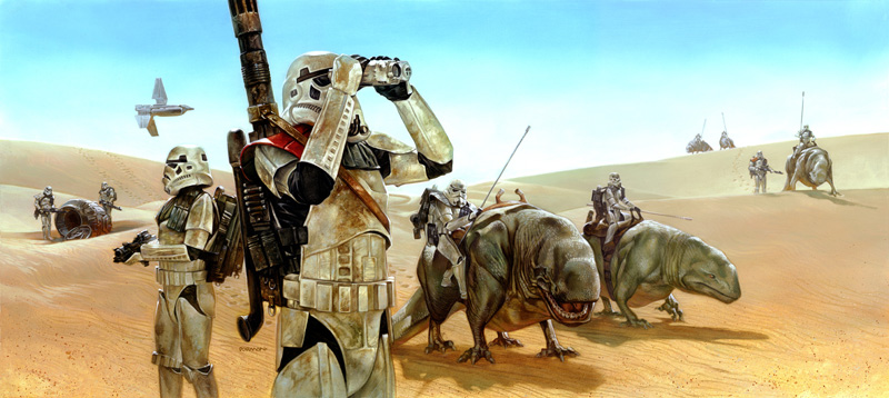 "Artwork by Dave Dorman ""Dewback Patrol"""