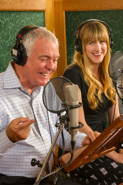 Phil Proctor and Christina Huntington recording Golden Age audio