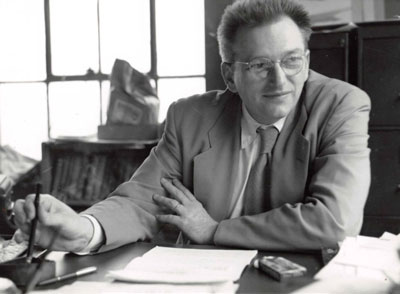 John W. Campbell. Photo by Hubert Rogers.