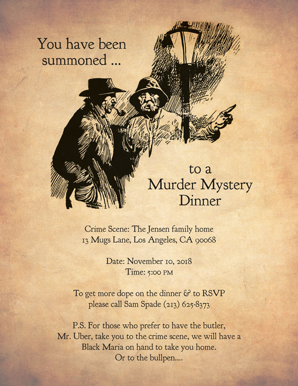 Murder Mystery Dinner invitation sample #1