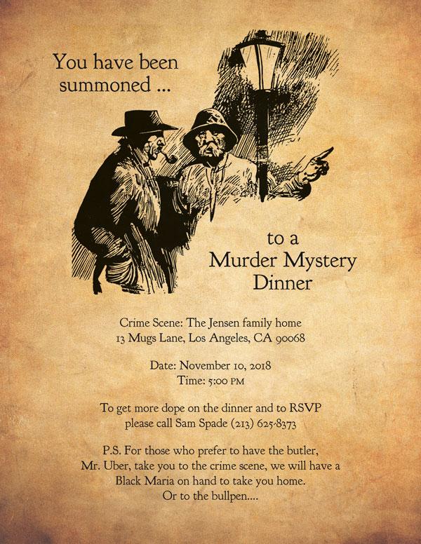 Murder Mystery Dinner invitation sample #1