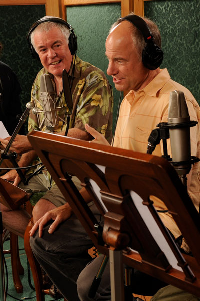 Phil Proctor and Jim Meskimen recording Golden Age audio