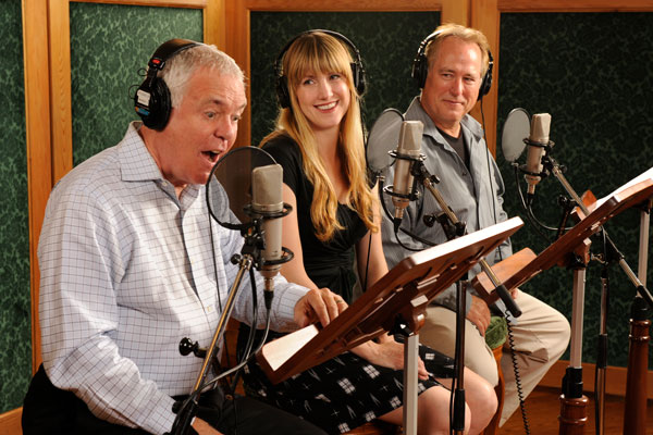 Phil Proctor, Christina Huntington, and R.F. Daley recording Golden Age audio drama
