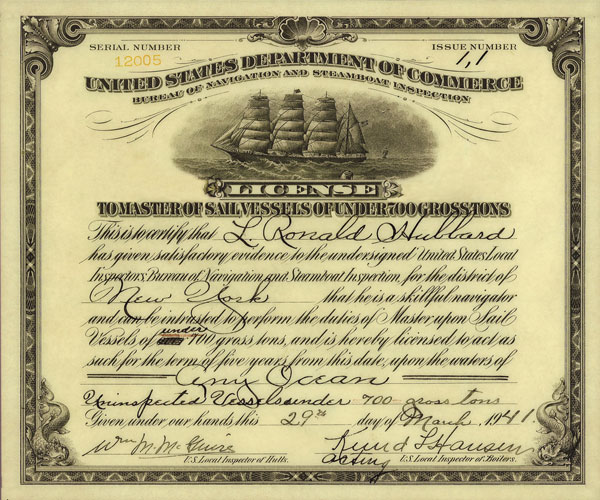 L. Ron Hubbard's Master Sail Vessel License