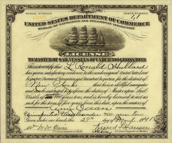 L. Ron Hubbard's Master Sail Vessel License