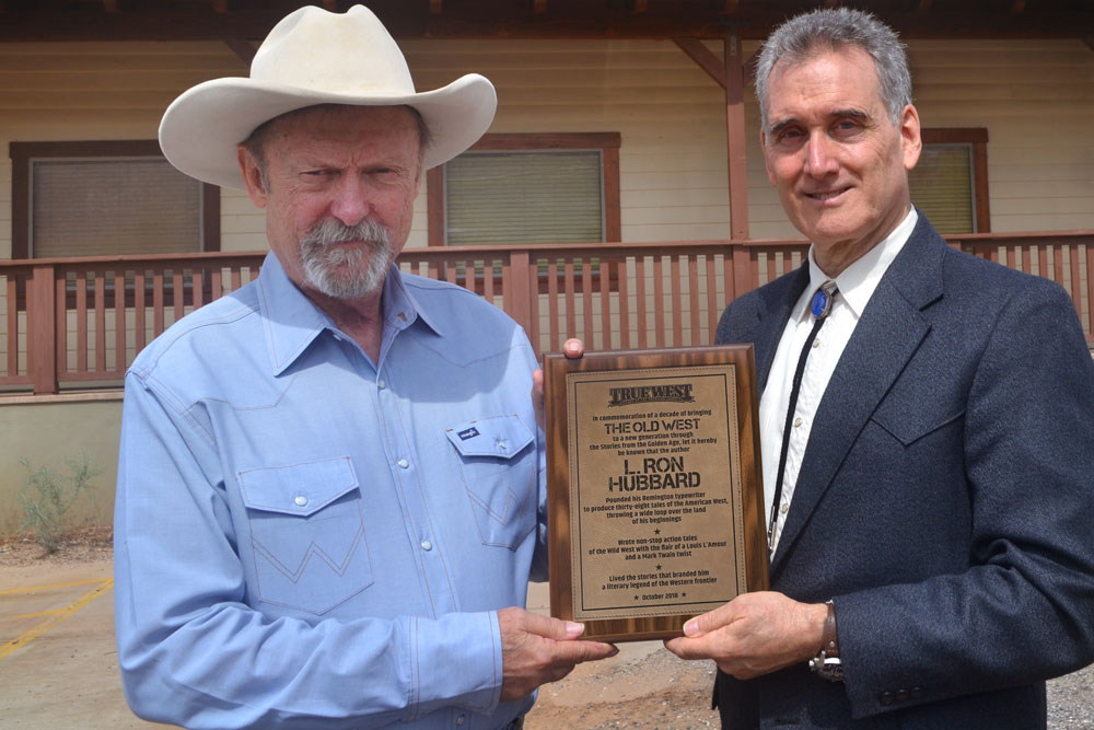 Bob Boze Bell, Editor of True West Magazine, presented a plaque commemorating L. Ron Hubbard