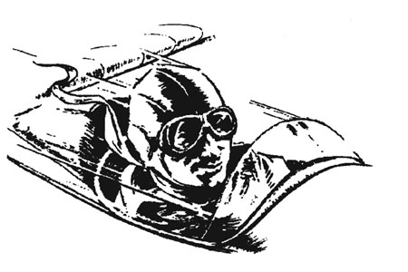 sketch of man in airplane