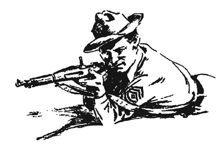 sketch of military man with gun