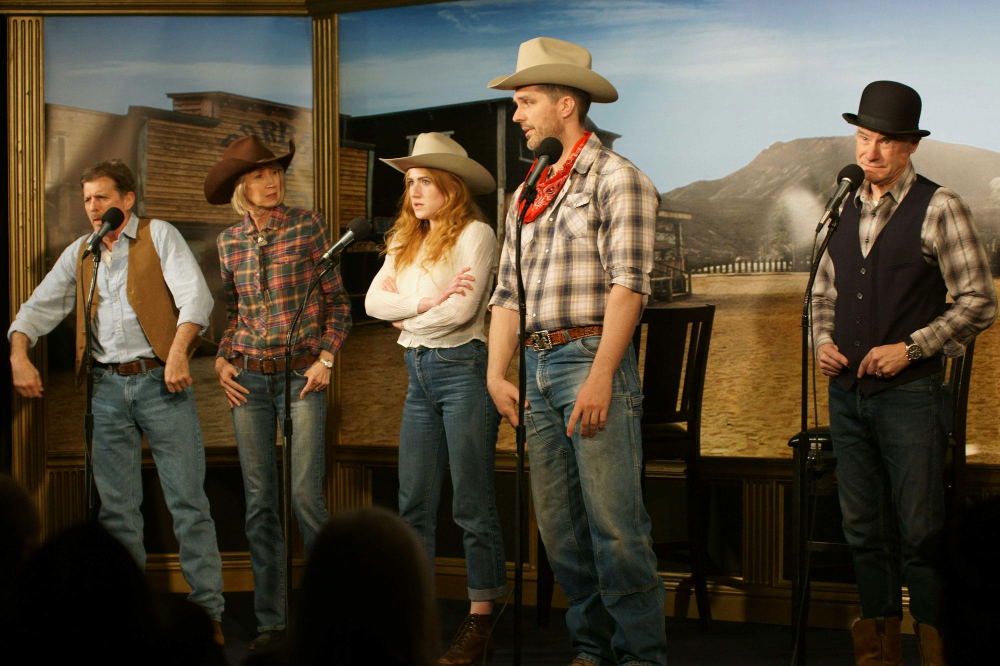 "The western romance ""Ride 'Em, Cowboy!"" by L. Ron Hubbard (l to r) Bob Caso, Tamra Meskimen, Taylor Meskimen, Pyar Anderson, and Jim Meskimen."