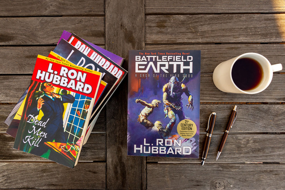 L. Ron Hubbard fiction books on table