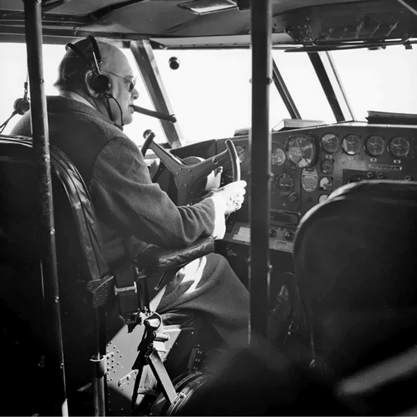 Winston Churchill in Boeing 314 Captain's Seat January 16, 1942