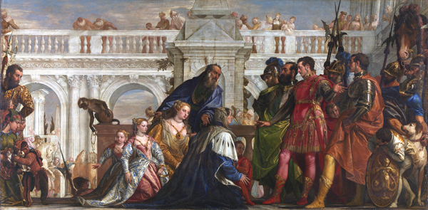 """Alexander the Great battle when he defeated the Persian King Darius III, and this is """"The Family of Darius before Alexander"""" painted by Paolo Veronese.]"""